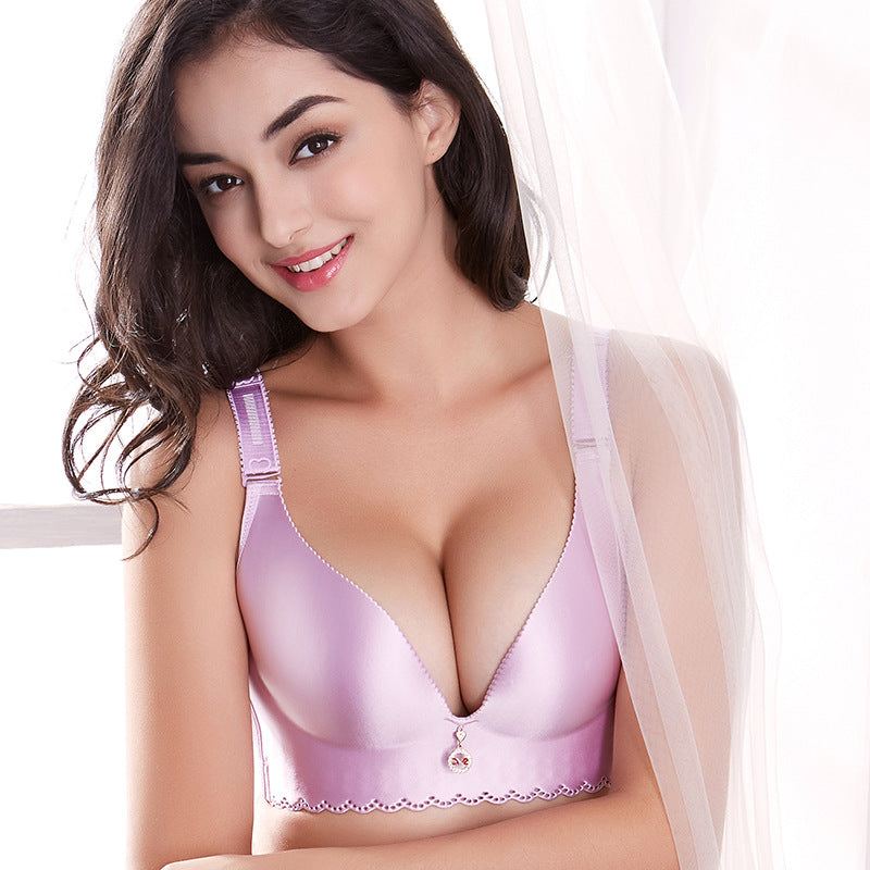 Satin Wireless Push up Bra for Larger Bust Sizes - Twilight Silk