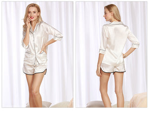 Silk Satin Half Sleeve Pajama Top and Sleep Shorts Set - Twilight Silk
