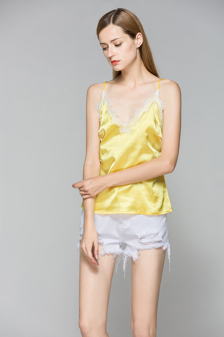 Satin and Lace Evening Party Camisole Tank Tops - Twilight Silk