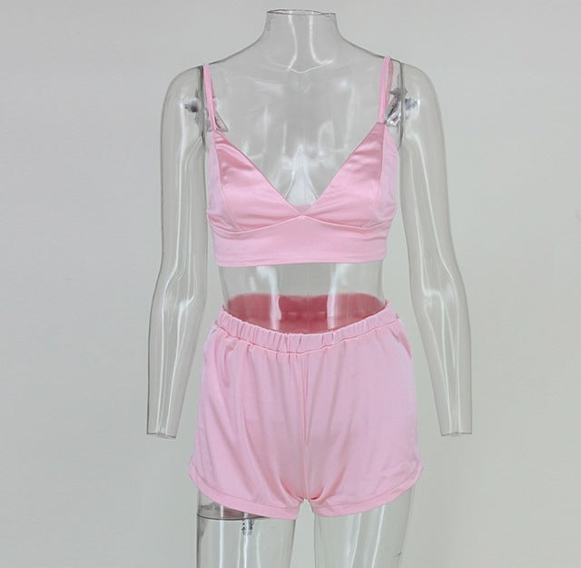 Silky Spaghetti Strap Crop And Hot Shorts Set - Twilight Silk