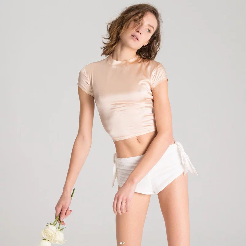 Sexy Silky Crop Top Half-high Collar T Shirt - Twilight Silk