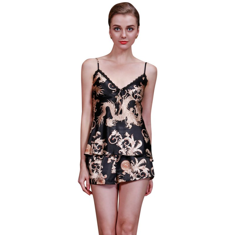 Sexy Silk Satin Asian Print Camisole and Tap Set - Twilight Silk