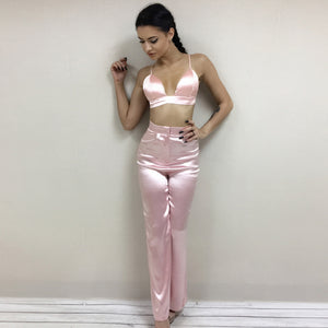 Satin Summer 2 Pieces Pants and Crop Top Suit Set - Twilight Silk