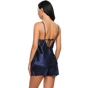 Sexy Satin Cami and Tap Sleep Set - Twilight Silk