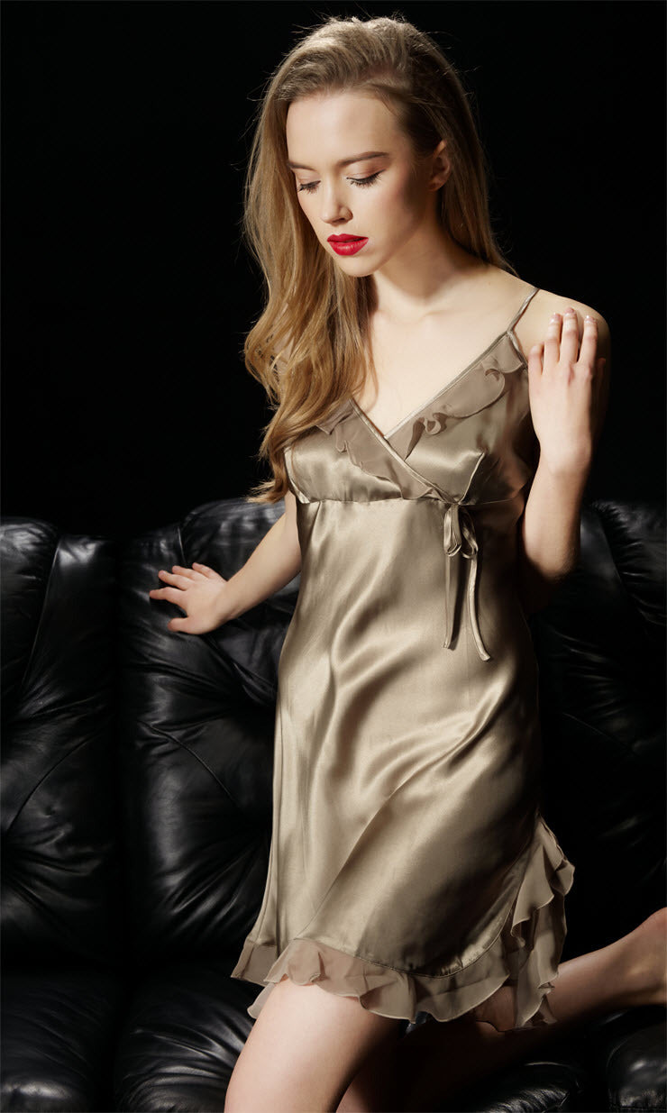 Ruffled Silk Chemise - Twilight Silk