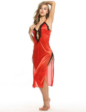 Satin and Lace Halter Nightgown - Twilight Silk