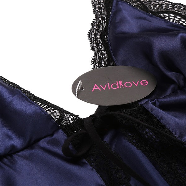 Flyaway Satin and Lace Babydoll with Matching Panty - Twilight Silk