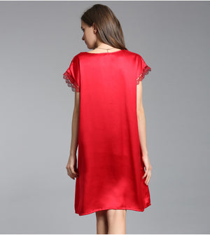 100% Silk Short Sleeve Nightgown with Belt - Twilight Silk