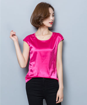 Satin Chiffon Cap Sleeve Blouse - Twilight Silk
