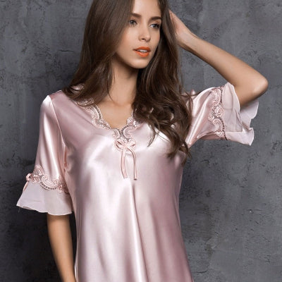 Satin Half Sleeve Embroidery Sleepshirt - Twilight Silk