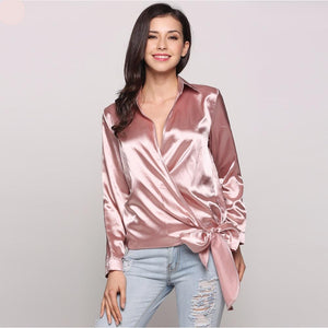 Silky V-Neck Wrap Long Sleeve Blouse - Twilight Silk