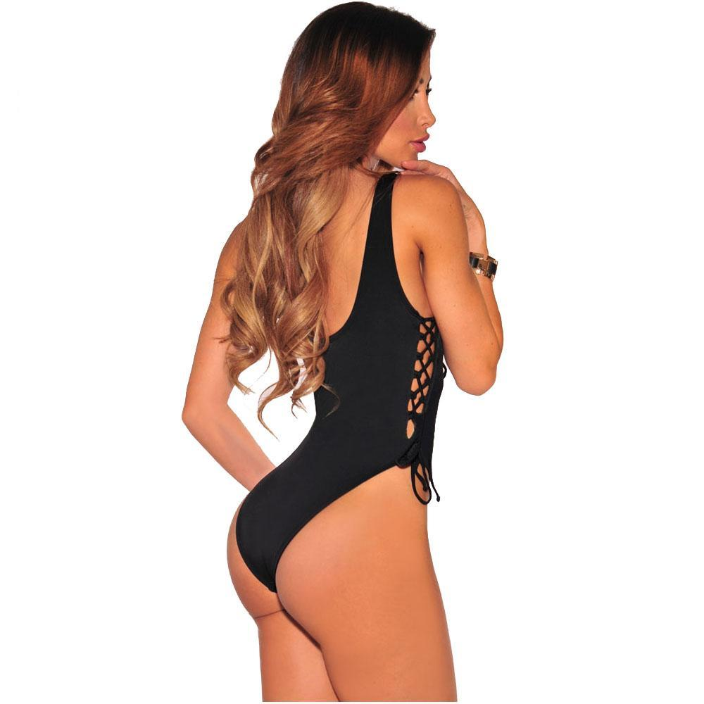 Side Tie Up High Cut Bodysuit Teddy - Twilight Silk