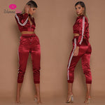Satin Crop Top Tracksuits - Twilight Silk
