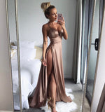 Elegant Thigh Slit Satin Maxi Dress - Twilight Silk