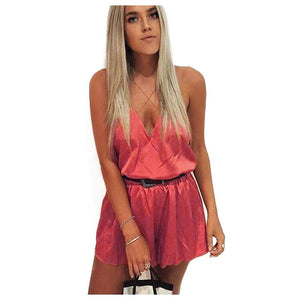 Satin Party Club Cross Strap Romper - Twilight Silk