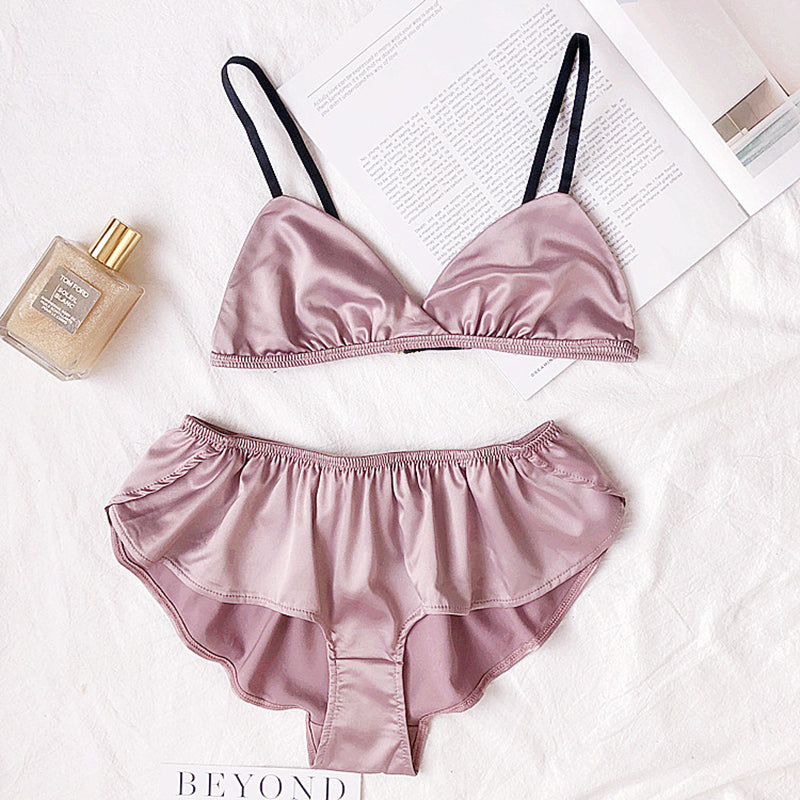 Sexy Satin Thin Wireless Triangle Cup Bralette with Matching Panties Set - Twilight Silk