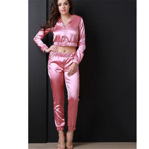 Hooded Satin Crop Top Track Suit Set - Twilight Silk