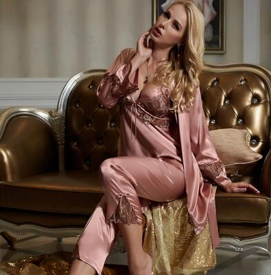 Silk Satin Pajamas Embroidery Three-Piece Pajama Set - Twilight Silk