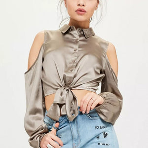 Silk Smooth Crop Top Cold Shoulder Top - Twilight Silk