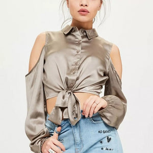 35050fd62a858 Silk Smooth Crop Top Cold Shoulder Top – Twilight Silk   MMD Brands LLC