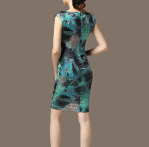 Green Silk Blend Vintage Dress - Twilight Silk