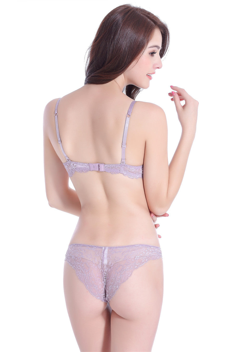 Satin and Lace Push up Bra and Matching Panties Set - Twilight Silk