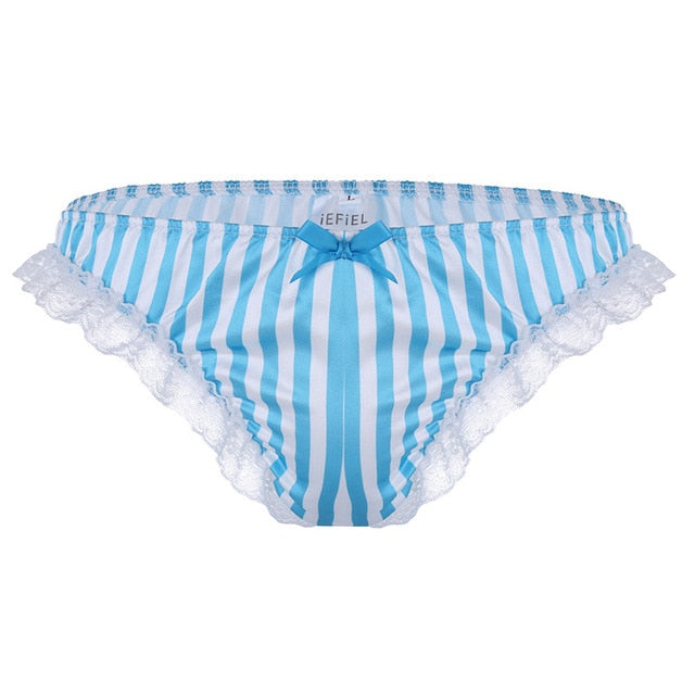 Candy Stripe Satin and Lace Briefs - Twilight Silk