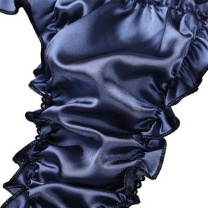Mens High Cut Satin Ruffle Thong - Twilight Silk