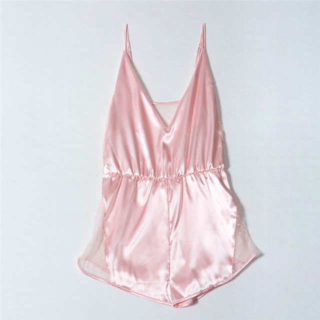Pink Satin and Lace Romper Teddy - Twilight Silk