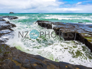 Muriwai Crushing Waves Stock Photo