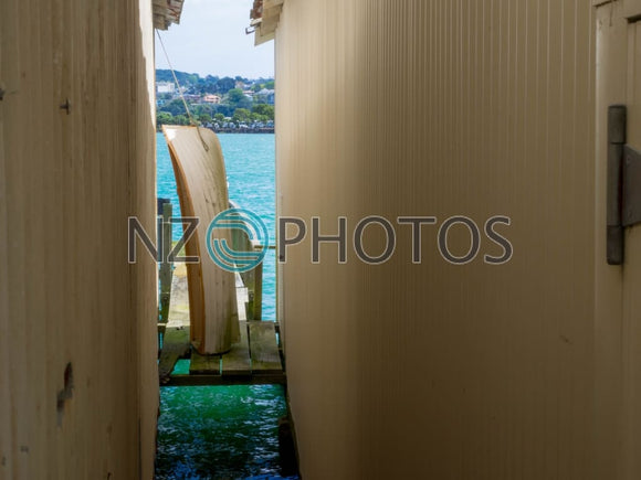 Wooden Boatshed Stock Photo