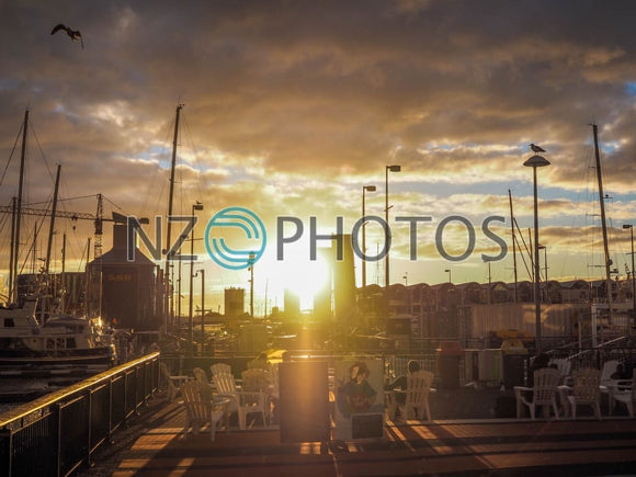 Viaduct Harbour Sunset Stock Photo