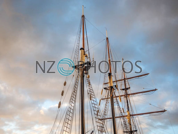 Sailing Vessel Masts Stock Photo