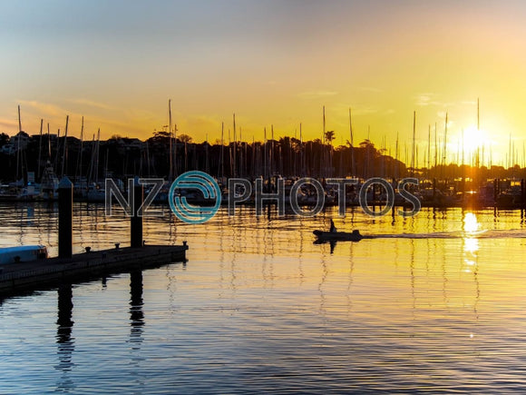 Westhaven Marina Sunset Stock Photo