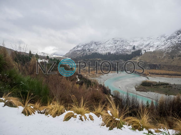 Shotover River & Queenstown Hill Stock Photo