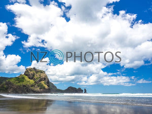 Lion Rock Piha Beach Stock Photo