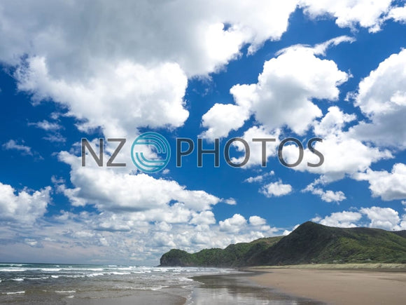 Piha Beach Clouds Stock Photo