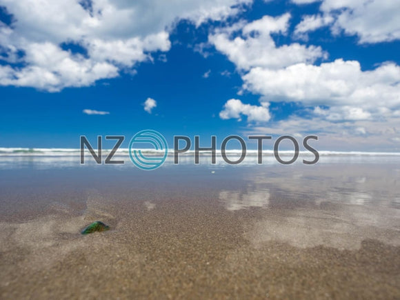 Low Tide At Piha Beach Stock Photo