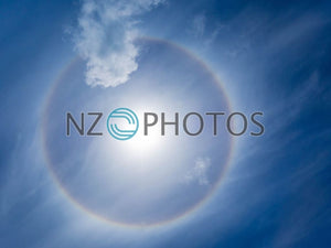 Rainbow Halo Around The Sun Stock Photo