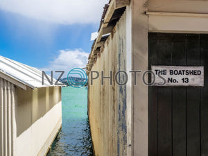 Old Boatsheds Stock Photo