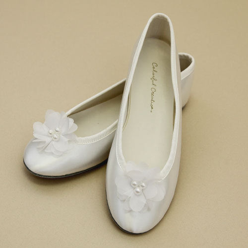 Satin Temple Shoe, Flower w/Beads