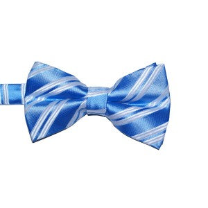 MBow310 Mens Pretied Bow Tie Baby Blue and White Stripes