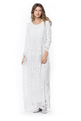 ModWhite White Poppy Dress - Temple Ready