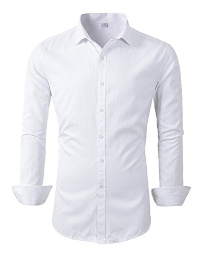 Mens Long Sleeve Slim Fit Dress Shirts (M, 455White)