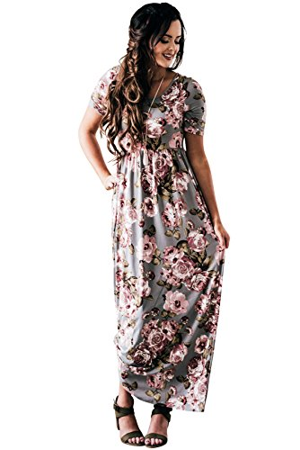 Miranda Modest Maxi Dress in Blue-Gray w/Floral Print - M