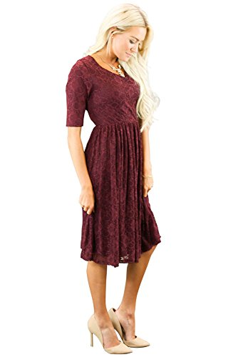 Mikarose Emmy Modest Dress in Burgundy Lace, Modest Bridesmaid Dress or Semi-Formal Dress - XXL
