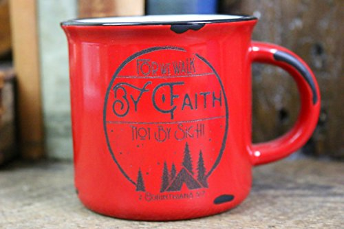 Campfire Mug/15oz Coffee Mugs/Ceramic/Holiday/Stocking Stuffer/Coffee/Tea Mug/Christian Gift/Christmas/Bible Verse/Walk By Faith - Zions Marketplace