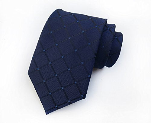 Men's Classic Navy Blue Plaid Tie Check Striped Silk Woven Jacquard Necktie + Gift Box