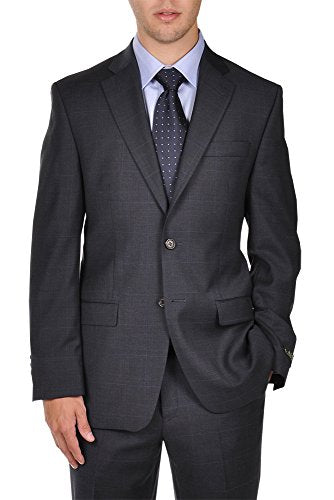 Ralph Lauren Navy Plaid 2 Button Modern Style Fit Dress Suit
