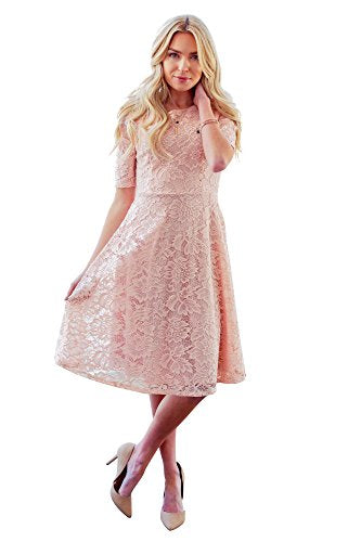 Mikarose Sloan Modest Dress In Blush Pink Lace, Modest Bridesmaid Dress, Modest Semi-Formal Dress - M